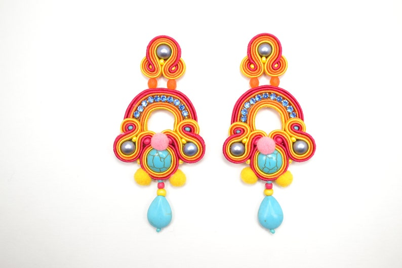 c7ab8dec3230e Colourful Pom Pom Soutache earrings - 925 Sterling Silver findings -  Statement Earrings- Hand Embroidered Earrings - Unique Gift