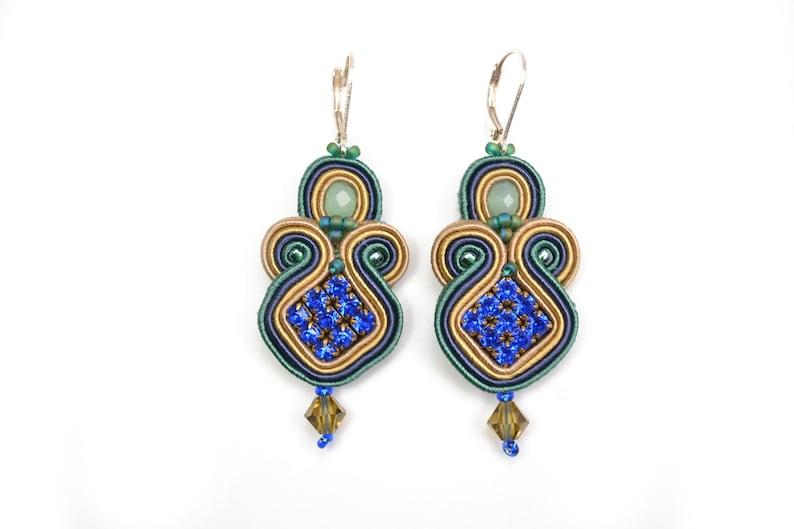 c7ce56ab6eaba Crystal Colourful Soutache Earrings - 925 Sterling Silver findings -  Statement Earrings - Gift for her - Crystal earrings - Evening Earrings