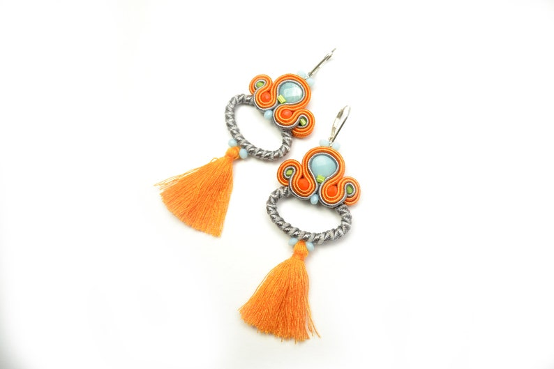 c277cd6a22015 Cotton Tassel Soutache Earrings with natural Amazonite - 925 Sterling  Silver lever backs - Statement Earrings - Gift for her