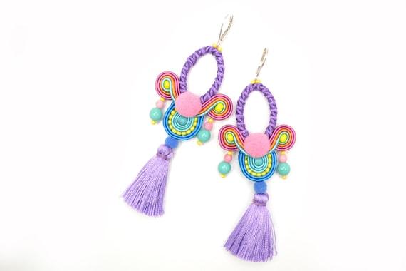 535521d799c25 Purple hoop Soutache Tassel Earrings - 925 Sterling Silver lever backs -  Statement Earrings - Gift for her - Art Silk Tassel Earrings