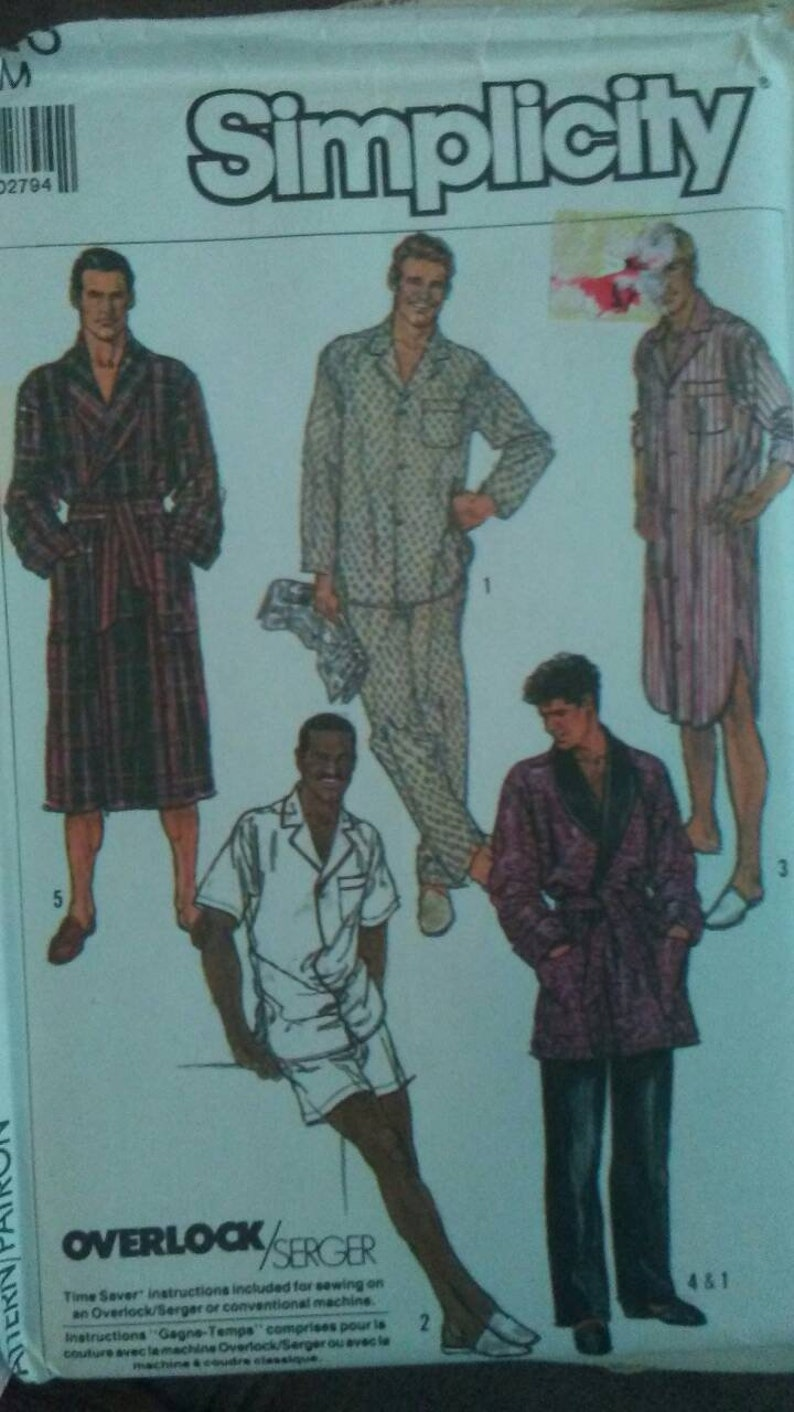 Vintage 1980's SIMPLICITY EASY SEW Pattern 8323 Men's or Teen Boy's  Pajamas, Robe & Nightshirt With Time Saving Instructions Size Sm Uncut