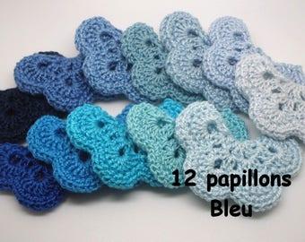 12 blue crochet Butterfly