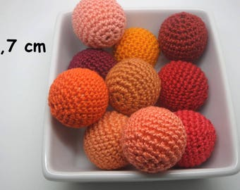 orange cotton crochet 10 beads (2.7 cm)