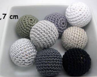 8 pearls (2.7 cm) grey crochet cotton