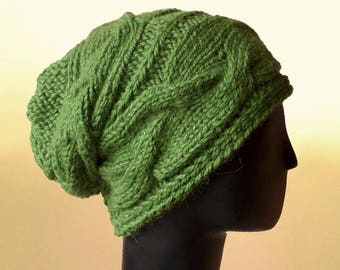 cc9e39785e9 Items similar to Chunky Slouch Beanie - Women s Knit Hat - Knit ...