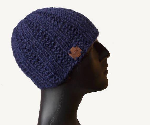 Mens Knit Hat   Mens Beanie   Blue Skull Cap   Urban Style    7d7894fef83e