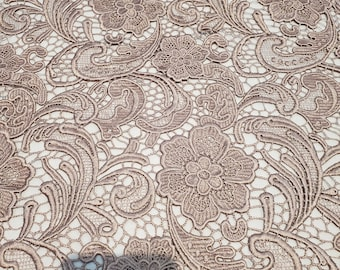 Floral Guipure Lace fabric, elegant Flower Embroidery, Chemical Lace fabric in 10colors