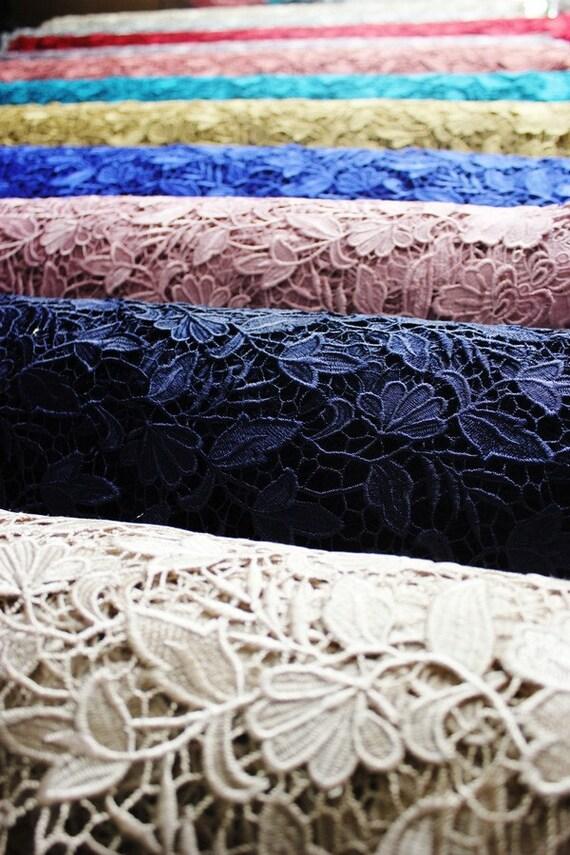 Tela floral de encaje de guipur elegante bordado de la flor | Etsy