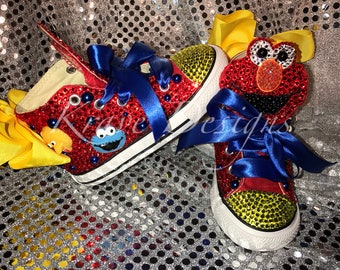 Elmo Sesame Street Youth Toddler Bling Chuck Taylor Shoes 73eb373f5141