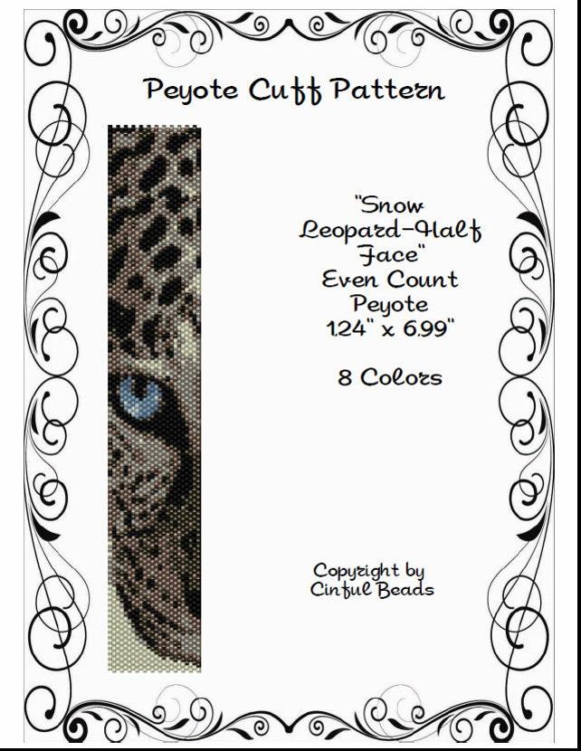 Peyote pulsera patrón Animal Print leopardo cara usando | Etsy