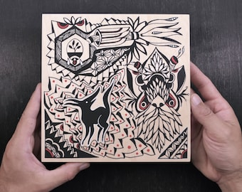 Original Ink Drawing on Wood