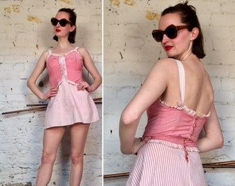 "Vintage 1940s ""Reel Poise by Bestlyne"" Candy Striper Pink Playsuit"
