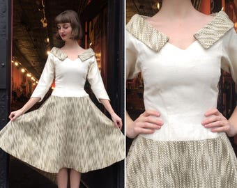 Vintage 1950s Lilli Ann Gold and Linen Dress
