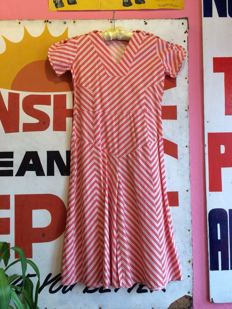 ffaec5aae216 Vintage 1930s Red and White Striped Jumpsuit