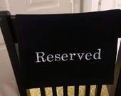Fabric Reserved Sign for auditorium, church, venue, theater, chair, pew, social distancing, funeral
