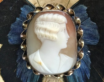 Cameo Brooch Antique Shell Cameo Brooch PS Co 1920/'s Gold-filled Cameo Brooch