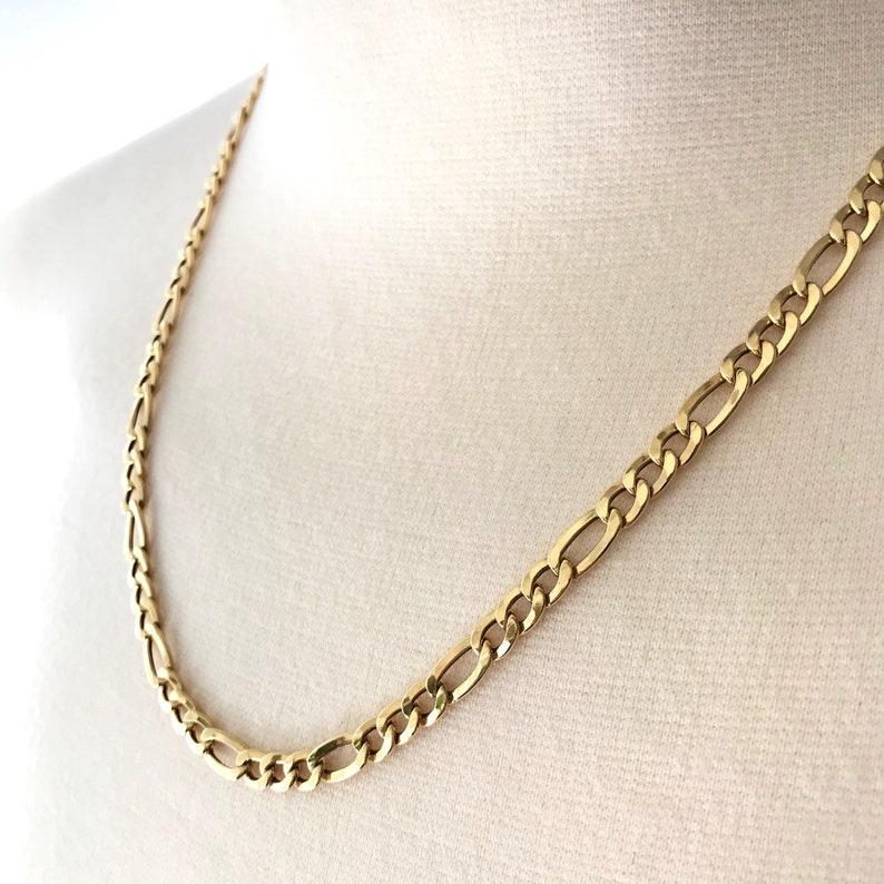 Italian Gold Chain >> Gold Chain Necklace Milor Italian Gold 14k Figaro Vintage Etsy