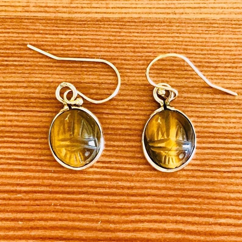 VINTAGE Tigers Eye Scarab Earrings Yellow Gold Ear Wires