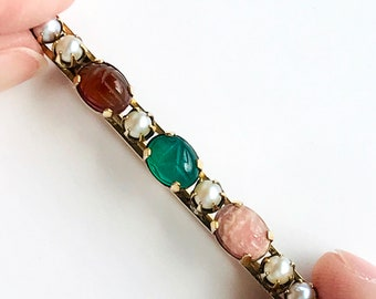 Vintage Genuine Pearl and Scarab Bar Brooch, Gold Filled Jewelry