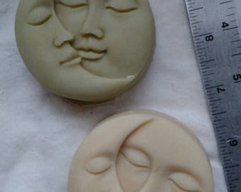 "Sun and moon molded ""Mintchouli"" goat milk soap."