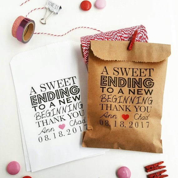 Strange Wedding Favor Bags Candy Buffet Bags Wedding Bags Personalized A Sweet Ending To A New Beginnning Download Free Architecture Designs Intelgarnamadebymaigaardcom