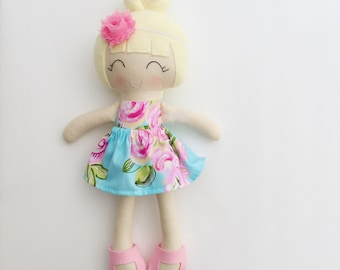 Cloth doll - fabric doll  - handmade doll - modern rag doll - girls room decor - girls toy - dress up doll - nursery decor - baby gift