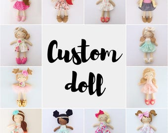 Custom doll - fabric doll - baby gift - dress up doll - baby shower - christmas gift - birthday gift - big sister gift - nursery decor