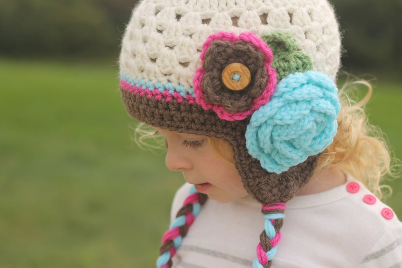 511481fd8cafe Girls hat - toddler hat - child hat - any size - cluster hat - earflap -  crochet flower hat - winter hat - fall hat - photography prop
