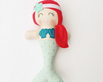 Mermaid doll - fabric doll  - handmade doll - modern rag doll - girls room decor - girls toy - mermaid - nursery decor