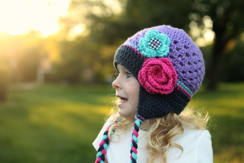 3d308a7c2836f Girls hat - toddler hat - child hat - trendy girls hat - flower hat -  earflap - crochet flower hat - winter hat - fall hat - photography pro