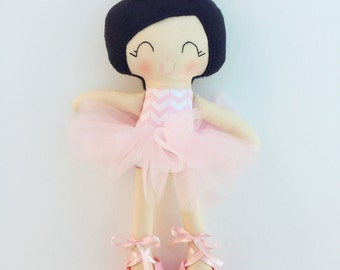 Ballerina doll - fabric doll  - handmade doll - modern rag doll - girls room decor - girls toy - dress up doll - dance - baby gift