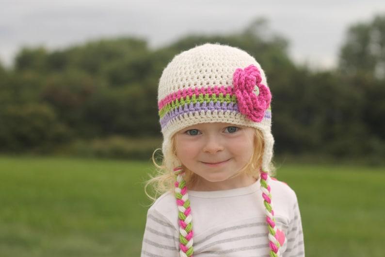 e3fcfc498cbb1 Girls hat - toddler hat - child hat - any size - stripe hat - earflap -  crochet flower hat - winter hat - fall hat - photography prop