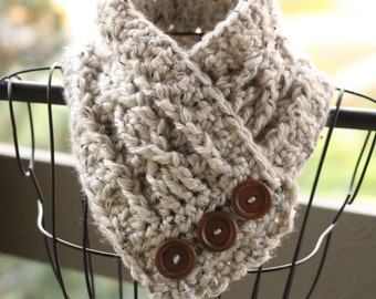 Tweed cowl - crochet cowl - cozy cowl - button cowl - button scarf - cream - ivory - cute and chunky - unique scarf