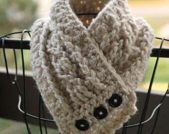 Cream cowl - button cowl - cozy cowl - scarf - ivory - chunky and cute - crochet cowl