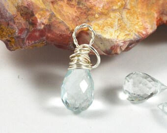 11mm Aquamarine wrapped briolette charm, Sterling Silver gemstone dangle March birthstone 14k Gold Filled interchangeable aquamarine pendant