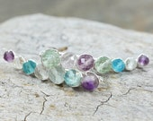 Rainbow Fluorite gemstone ear climbers, 14k Gold Filled Sterling Silver Ear crawlers pin vine sweep pastel Easter colors aqua purple mint