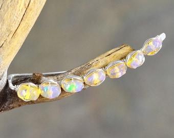 Ethiopian Opal Sterling Silver ear climbers, Opal green flashy fire crawlers, gemstone ear pin Opal ear cuff, ear sweep, ear vine