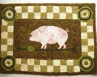 Pig Weathervane Rug Hooking Pattern