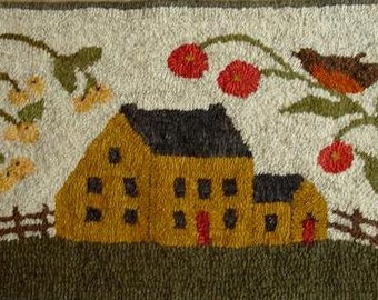 When Robins Sing Rug Hooking Pattern on linen.