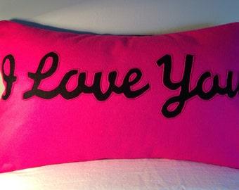 I LOVE YOU cushion - hot pink & black
