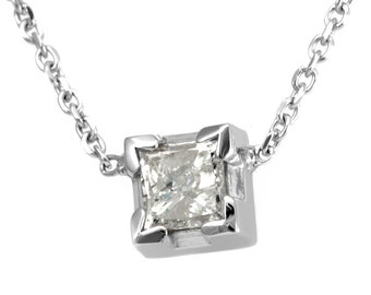 Princess Cut Diamond Pendant Necklace, 14K White Gold Ladies Necklace, Princess Pendant, Ladies Fine Jewelry