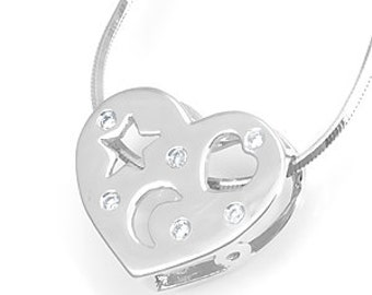 Diamond Heart Slider Pendant, 14K White Gold Ladies Pendant, Ladies Fine Jewelry