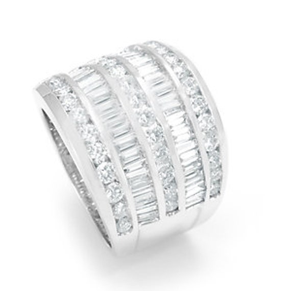 Round and Baguette Diamond Wide Ring , 14K White Gold Ladies Rings, Ladies Fine Jewelry
