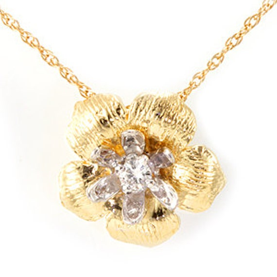 Diamond Flower Design Pendant 14k 2 Tone Ladies Pendants Etsy