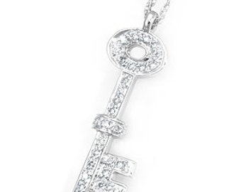 Diamond Key Pendant, 14K White Gold Ladies Pendant, Ladies Fine Jewelry