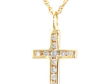 14K Yellow Gold Diamond Cross Pendant, Ladies Pendant, Ladies Fine Jewelry