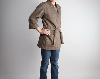 wool jacket - with belt and two pockets - hand made