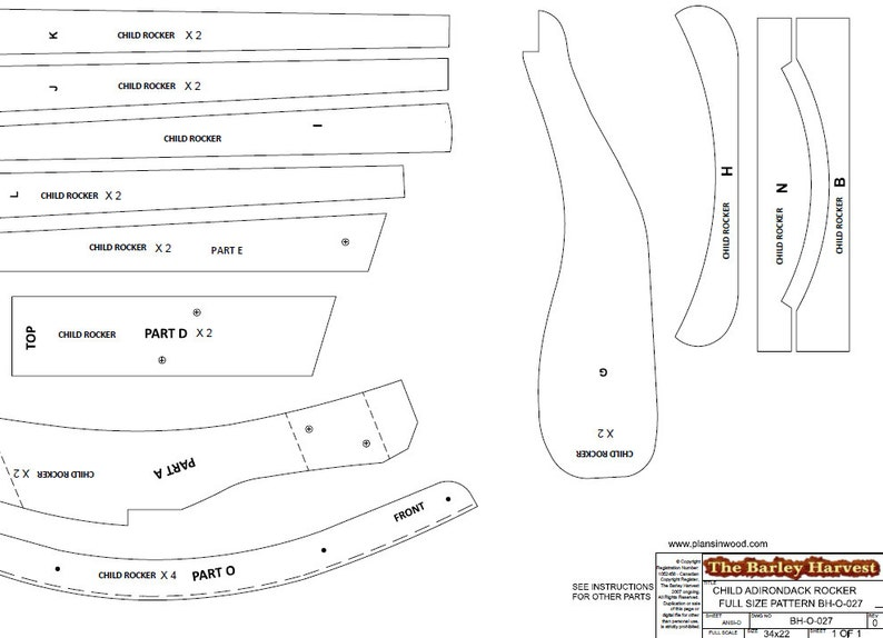Child Size Adirondack Rocking Chair Plans DWG files for ...