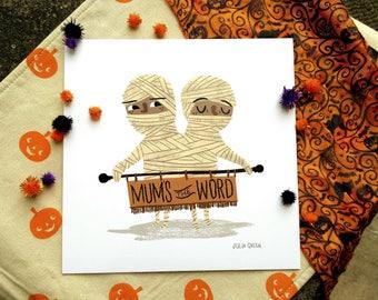 Halloween Mummy Twins Art Print