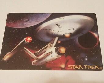 "Star Trek The Voyagers Hamilton Collection Ceramic Cards U.S.S. Enterprise & Klingon Battlecruiser Original Box ""Mint"""
